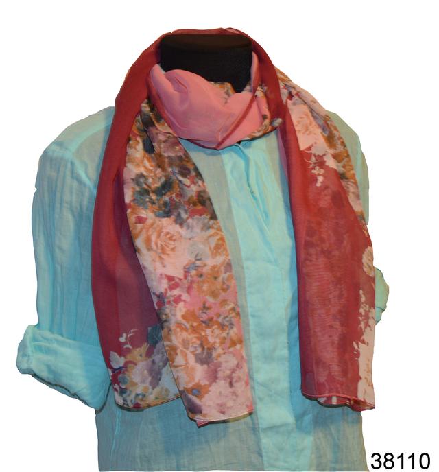 Женский бордовый модный шифоновый шарф Кармен 1