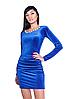 Короткое яркое элегантное вечернее платье из эластичного бархата.
