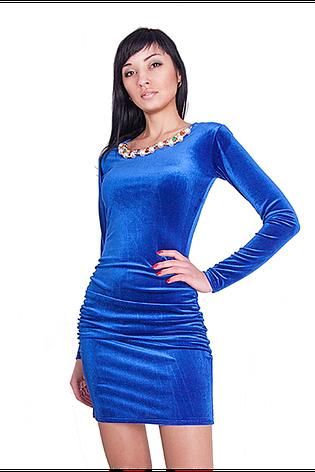Короткое яркое элегантное вечернее платье из эластичного бархата.  , фото 2