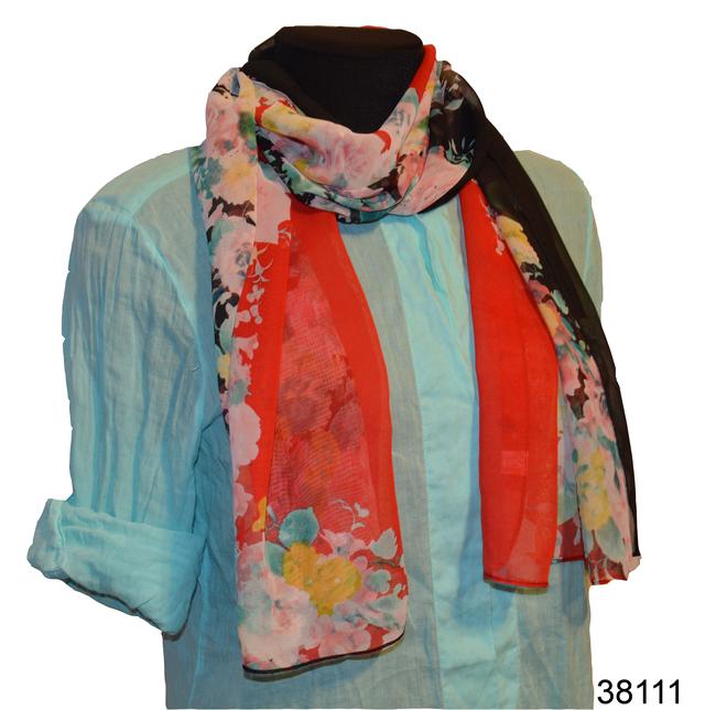 Женский красный с черным модный шифоновый шарф Кармен 1