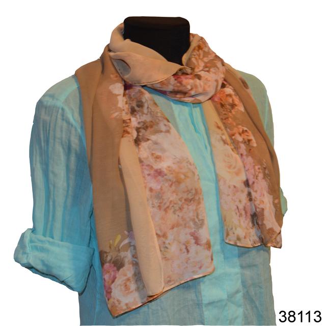 Женский бежевый модный шифоновый шарф Кармен 1