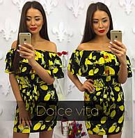 Короткое летнее платье с лимонами