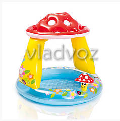 Детский надувной бассейн с навесом грибок 57114