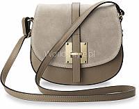 02-12 Серая женская сумка с ремнем Vidja