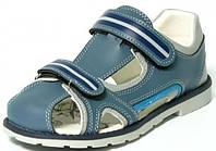 Детские качественные ортопедические босоножки р.32,34,35,36 серо-голубые с закрытым носком мальчикам