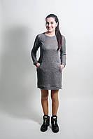 Повседневное трикотажное платье для беременных и кормящих мам темный меланж с розовинкой, L