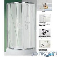 Sanplast  KP4/TX5-100-S sb W15 + Bpza  Душевая кабина полукруглая с поддоном  профиль ХРОМ, стекло W15  (ШхДхВ) 100x100X185