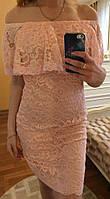 Оригинальное гипюровое платье с рюшей