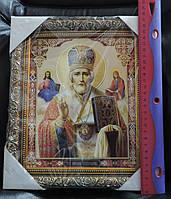 "Икона в рамке - ""Святой Николай Мирликийский Чудотворец"". Размер 28 х 24 см., фото 1"