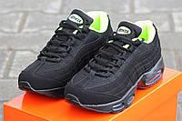 Женские кроссовки NIKE 95, черные с салатовым / кроссовки женские НАЙК 95, плотная сетка + пресс кожа