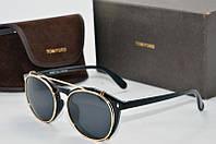 Солнцезащитные очки круглые TOm Ford черные в золоте , фото 1