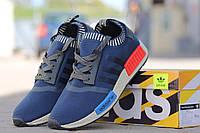 Мужские кроссовки Adidas NMD, плотная сетка, темно синие / бег кроссовки мужские Адидас НМД, стильные, удобные