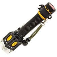 Фонарь ручной с шипами для обороны UltraFire Wolf (Черный) светодиодный тактический противоударный LED