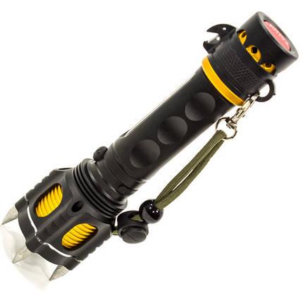 Фонарь ручной с шипами для обороны UltraFire Wolf (Черный) светодиодный тактический противоударный LED, фото 2