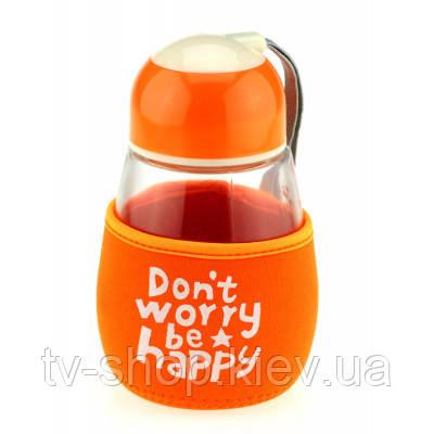 """Бутылка с чехлом """"Don't worry,be happy"""",4 цвета 475 ml"""