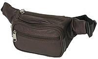Качественная поясная сумка из кожи Paul Rossi 908-MTN Brown