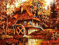 Картина из янтаря Домик в лесу (Картины и иконы из янтаря)