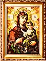 Икона из янтаря Богородица с младенцем (Картины и иконы из янтаря)