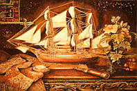Картина из янтаря Корабль (Картины и иконы из янтаря)