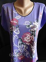 Оптовая продажа женских футболок с цветами.