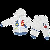Детский трикотажный костюмчик: кофта на молнии с капюшоном, штанишки, Турция, ТМ Ромашка, р. 74, 80, 86