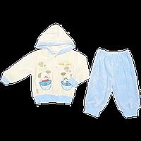 """Детский велюровый костюмчик """"DOGS"""": кофта на кнопках с капюшоном, штаны; Турция, р. 74 Для мальчиков, 74, Весна/осень, Бирюзовый"""