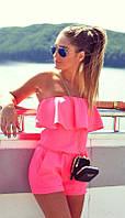 Розовый комбинезон с воланами