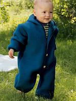 Engel Комбинезон с капюшоном Engel из флисовой шерсти синий
