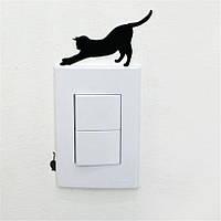 Кошка 2 наклейка на выключатель 15Х11 см