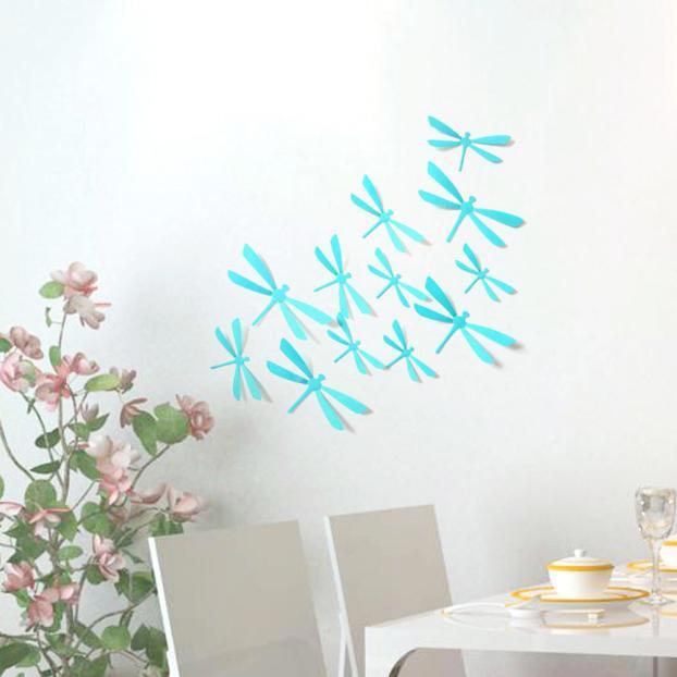 3D стрекоза наклейки 12 шт голубая 65-80 мм (товар при заказе от 200 грн) - магазин-студия Цацки в Чернигове