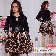 Короткое женское платье с леопардовым принтом