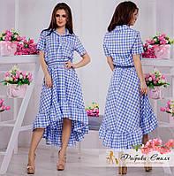 Красивое женское платье асимметричной длины в клетку