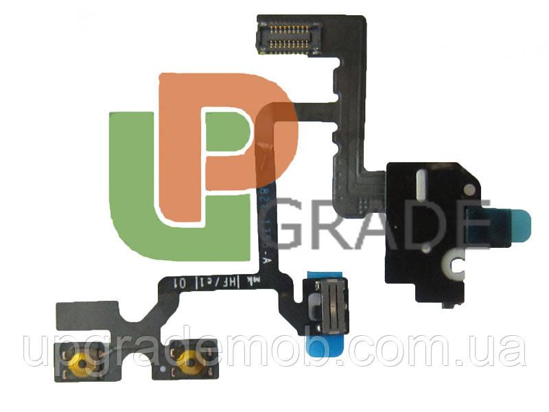Шлейф для iPhone 4, с кнопками регулировки громкости, с конектором наушников, белый, оригинал (Китай) - UPgrade-запчасти для мобильных телефонов и планшетов в Днепре