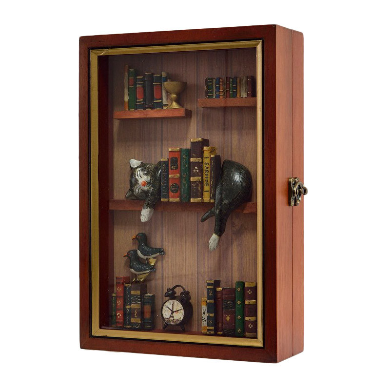 """Ключница  настенная, деревянная -"""" Кот в библиотеке """""""