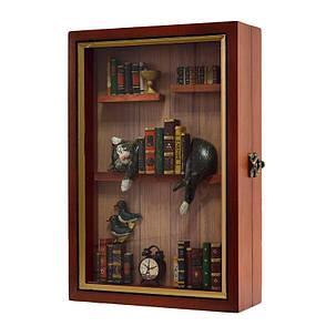 """Ключница  настенная, деревянная -"""" Кот в библиотеке """", фото 2"""