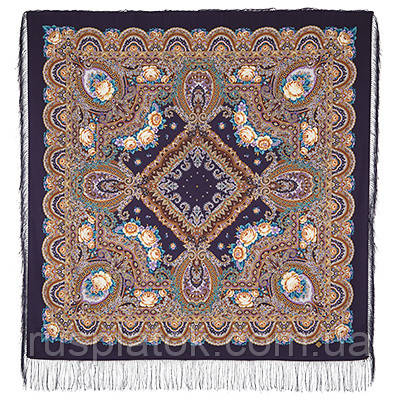 Русское раздолье 1619-15, павлопосадский платок шерстяной (двуниточная шерсть) с шелковой бахромой