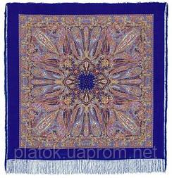 Жасмин 1176-13, павлопосадский платок (шаль, крепдешин) шелковый с шелковой бахромой
