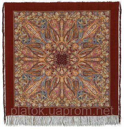 Жасмин 1176-17, павлопосадский платок (шаль, крепдешин) шелковый с шелковой бахромой
