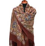 Жасмин 1176-17, павлопосадский платок (шаль, крепдешин) шелковый с шелковой бахромой, фото 3