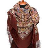 Жасмин 1176-17, павлопосадский платок (шаль, крепдешин) шелковый с шелковой бахромой, фото 4