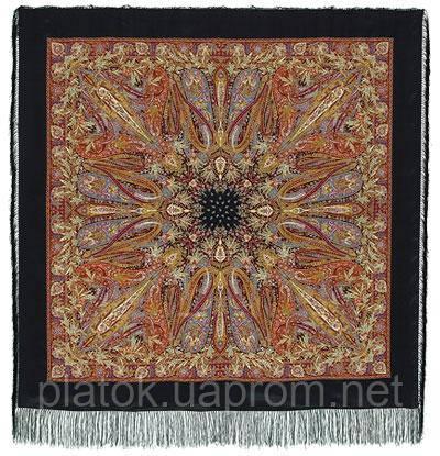 Жасмин 1176-18, павлопосадский платок (шаль, крепдешин) шелковый с шелковой бахромой