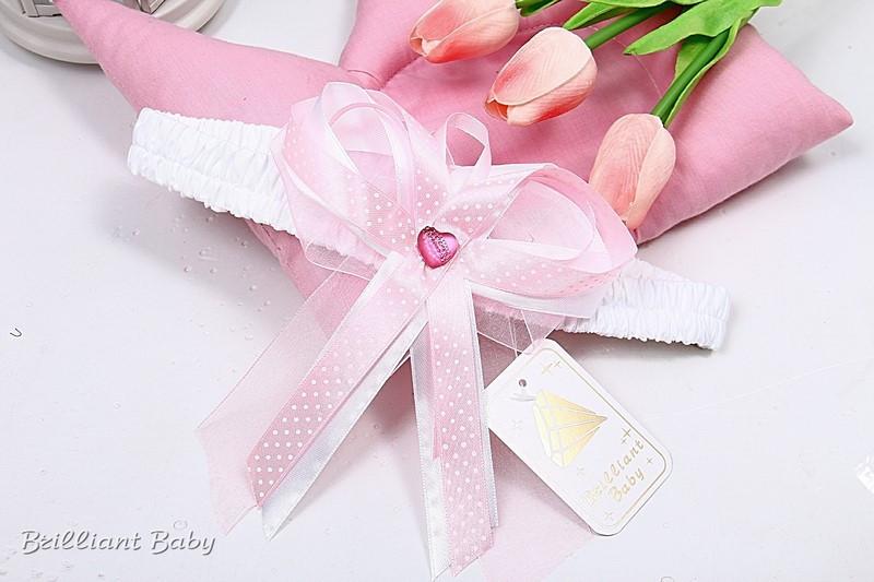 """Бант резинка на выписку из роддома для новорожденного """"Розовый"""""""