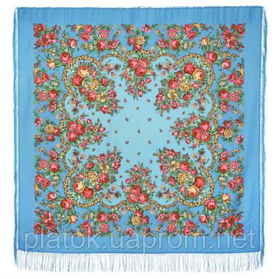 Душечка 782-13, павлопосадский платок шерстяной  с шелковой бахромой