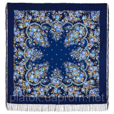 Душечка 782-14, павлопосадский платок шерстяной  с шелковой бахромой