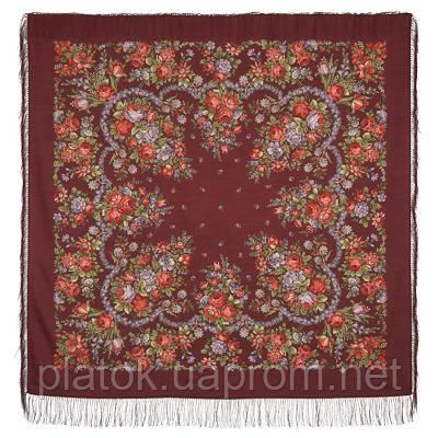 Душечка 782-6, павлопосадский платок шерстяной  с шелковой бахромой
