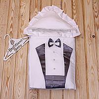 """Демисезонныйнарядный конверт для мальчика на выписку """"Аристократ"""" (серебро)"""