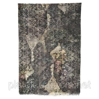 Палантин шерстяной 10167-18, павлопосадский шарф-палантин шерстяной (разреженная шерсть) с осыпкой