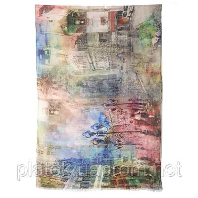 Палантин шерстяной 10168-1, павлопосадский шарф-палантин шерстяной (разреженная шерсть) с осыпкой