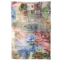 Палантин шерстяной 10168-1, павлопосадский шарф-палантин шерстяной (разреженная шерсть) с осыпкой, фото 1