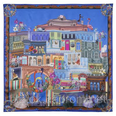 Платок шелковый 10144-13, павлопосадский платок шелковый (атласный) с подрубкой